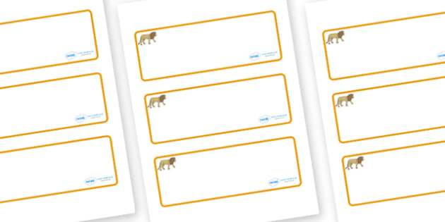 Lion Themed Editable Drawer-Peg-Name Labels (Blank) - Themed Classroom Label Templates, Resource Labels, Name Labels, Editable Labels, Drawer Labels, Coat Peg Labels, Peg Label, KS1 Labels, Foundation Labels, Foundation Stage Labels, Teaching Labels