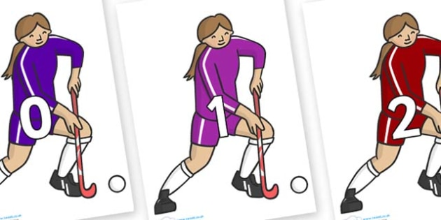 Numbers 0-31 on Hockey Players - 0-31, foundation stage numeracy, Number recognition, Number flashcards, counting, number frieze, Display numbers, number posters