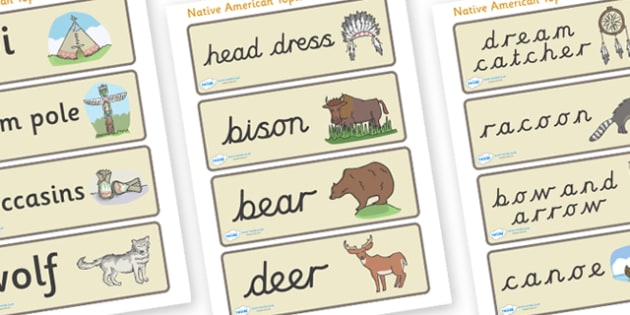 Native American Word Cards - Native Americans, word card, flashcards, Native Americans, indian, moccasin, bow and arrow, dream catcher, wild west