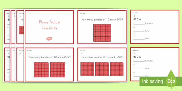 Second Grade Place Value Task Cards - Common Core Second Grade Math Task Cards, place value, hundreds, tens, ones, mini assessment, revisi