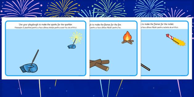 Bonfire Playdough Mats Romanian Translation - romanian, bonfire night, playdough