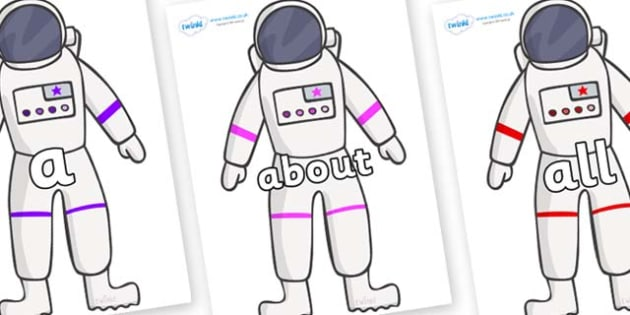 100 High Frequency Words on Astronaut - High frequency words, hfw, DfES Letters and Sounds, Letters and Sounds, display words