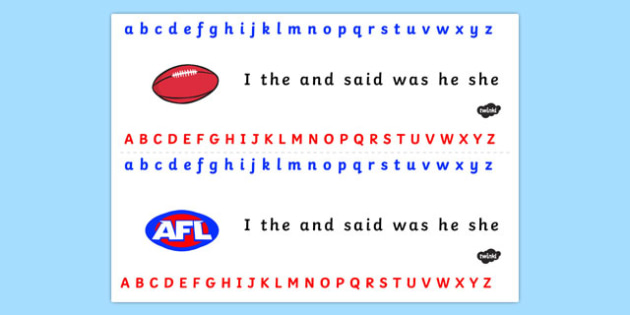 Australian Football League Alphabet Strip - visual aid, AFL