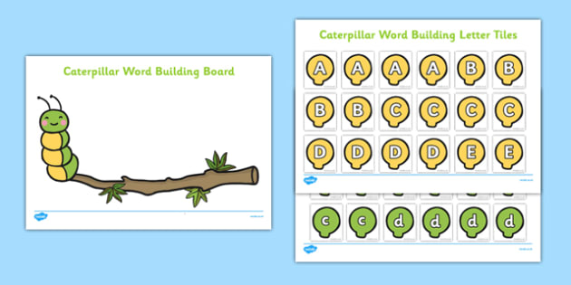 Caterpillar Boards and Letter Tiles - EYFS, Early Years, Key person, groups, minibeasts, butterfly, life cycle