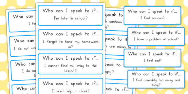 SEN Transition to Secondary School: Who Can I Speak to If...? Support Cards - australia