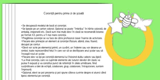 Coroniță pentru prima zi de școală Activitate - Romanian