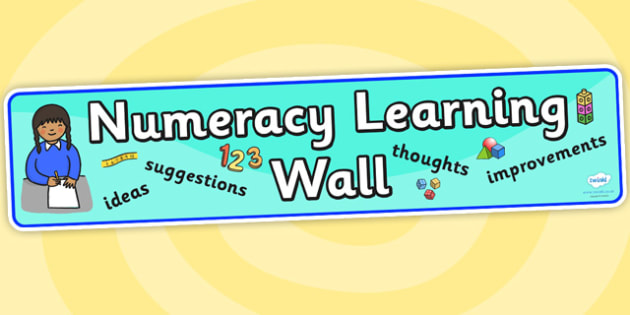 Numeracy Learning Wall Display Banner - numeracy, numeracy display, learning wall, display banner, banner, banner for display, header, display header