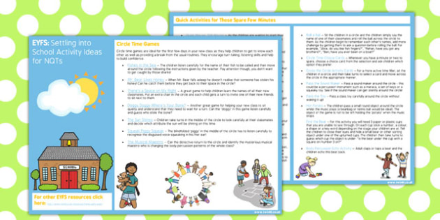 EYFS Settling into School Activity Ideas for NQTs - eyfs, school, activity, nqt