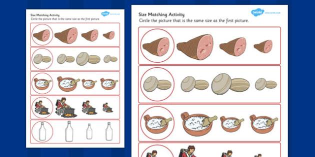 Stone Soup Size Matching Worksheets - stone soup, size, matching