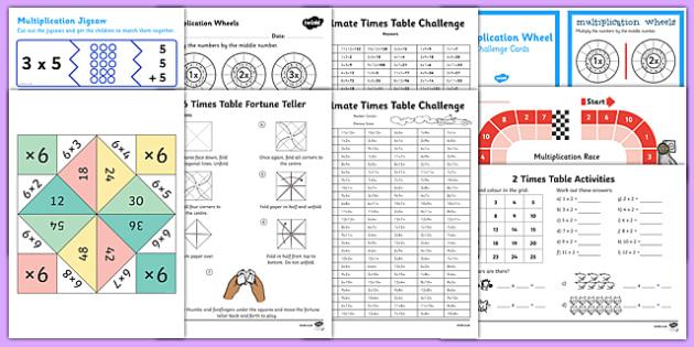 KS2 Times Tables Bumper  Activity Pack