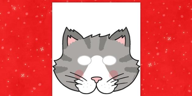 Christmas Cat Role Play Mask - christmas cat, mog, role play mask, role play, mask