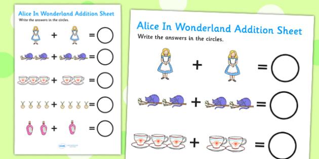 Alice in Wonderland Addition Sheet - alice in wonderland, addition sheet, addition, addition worksheet, alice in wonderland worksheet
