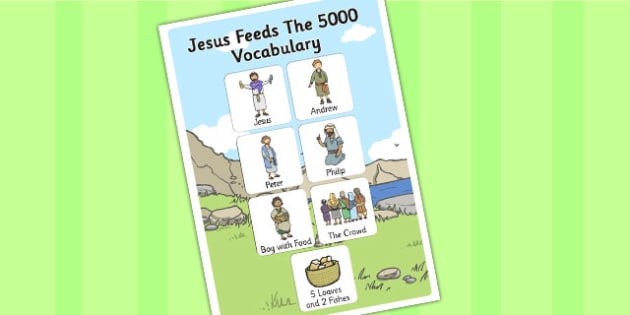 Jesus Feeds the 5000 Bible Story Vocabulary Poster - posters