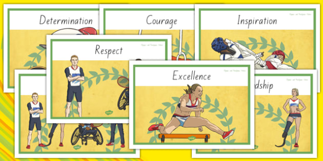 Olympics and Paralympics Values Display Posters - nz, new zealand, olympics, rio, 2016, value, values, behaviour, aspiration, games, summer, display, posters