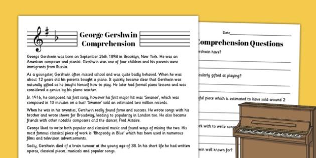 George Gershwin Reading Comprehension Activity - comprehension, gershwin