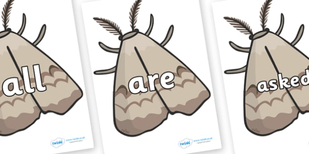 Tricky Words on Moths - Tricky words, DfES Letters and Sounds, Letters and sounds, display, words