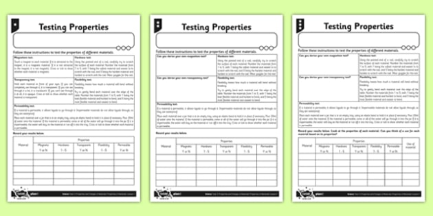 Differentiated Testing Properties Activity Sheet - materials, hard, flexible, magnetic, transparent, permeable, worksheet