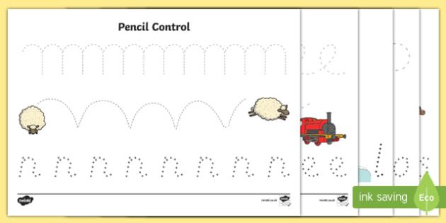 Trains Pencil Control Activity Sheets
