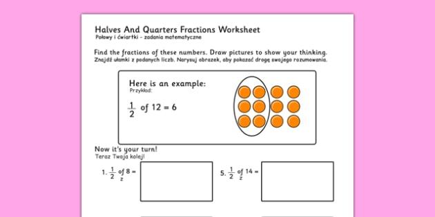 Halves and Quarters Fractions Worksheets Polish Translation - polish, fraction, numeracy
