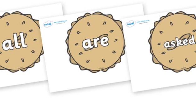 Tricky Words on Pies - Tricky words, DfES Letters and Sounds, Letters and sounds, display, words