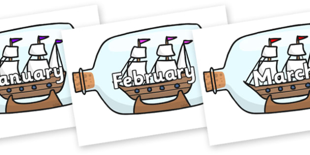 Months of the Year on Ship in a Bottles - Months of the Year, Months poster, Months display, display, poster, frieze, Months, month, January, February, March, April, May, June, July, August, September