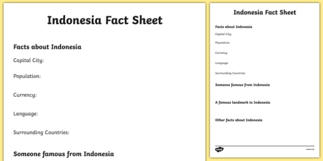 Indonesia Fact Sheet Writing Template - indonesia, indonesia fact sheet, indonesia fact file, indonesia worksheet, facts about indonesia, ks2 geography