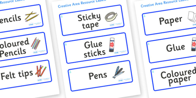 Raindrop Themed Editable Creative Area Resource Labels - Themed creative resource labels, Label template, Resource Label, Name Labels, Editable Labels, Drawer Labels, KS1 Labels, Foundation Labels, Foundation Stage Labels