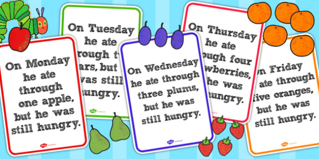Daily Food Posters to Support Teaching on The Very Hungry Caterpillar - Displays