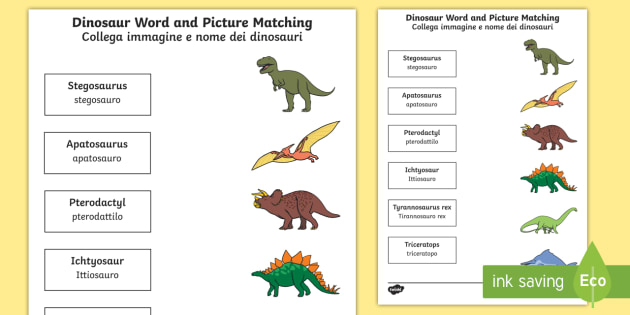dinosaur word and picture matching activity sheet. Black Bedroom Furniture Sets. Home Design Ideas