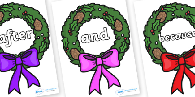 Connectives on Christmas Wreaths - Connectives, VCOP, connective resources, connectives display words, connective displays