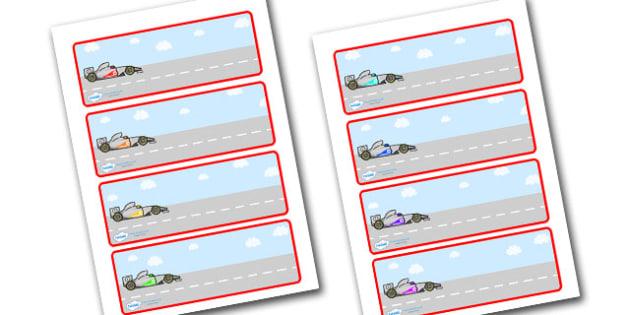 Editable Drawer - Peg - Name Labels (Racing Cars) - Racing Car Label Templates, car, Resource Labels, Name Labels, Editable Labels, Drawer Labels, Coat Peg Labels, Peg Label, KS1 Labels, Foundation Labels, Foundation Stage Labels, Teaching Labels
