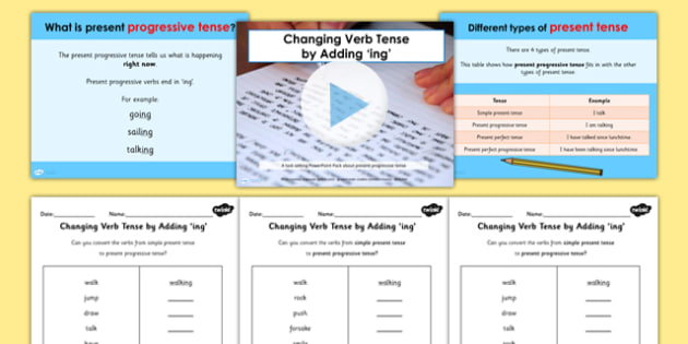 Changing Verb Tense by Adding ing SpaG PowerPoint Teaching Pack