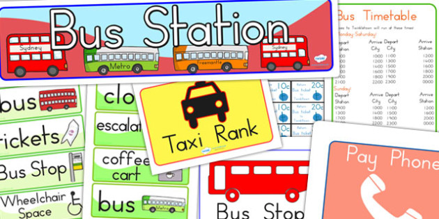 Bus Station Role Play Pack - bus station, transport, role play