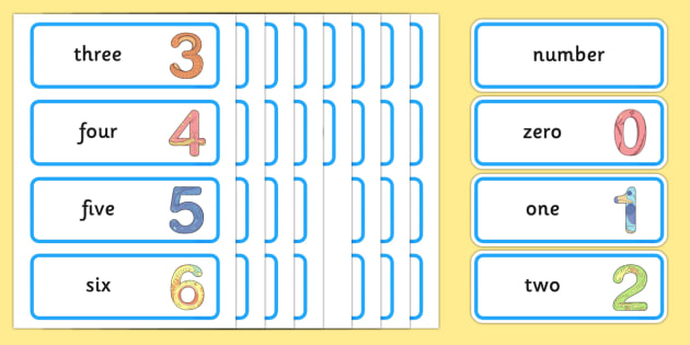 Maths Number System Word Cards 0-20 - maths, mathematics, number system, word cards, 0-20
