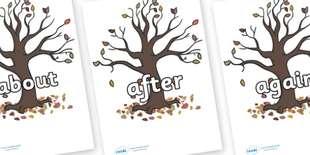 KS1 Keywords on Autumn Trees - KS1, CLL, Communication language and literacy, Display, Key words, high frequency words, foundation stage literacy, DfES Letters and Sounds, Letters and Sounds, spelling