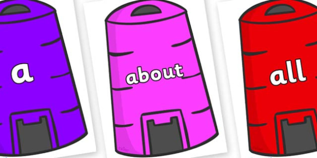 100 High Frequency Words on Recycling Bins - High frequency words, hfw, DfES Letters and Sounds, Letters and Sounds, display words