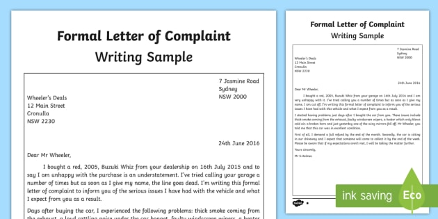 Formal Letter Of Complaint Writing Sample - English, Writing