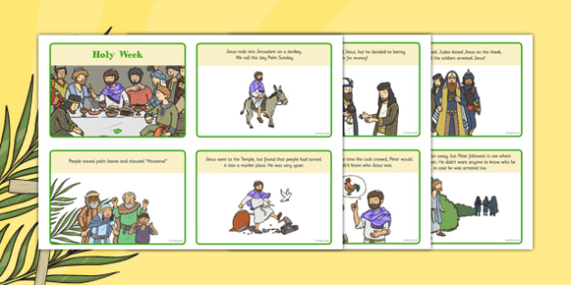 Holy Week KS1 Pack Sequencing Cards - sequencing cards, Easter, Holy Week