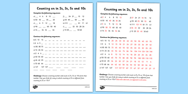 Counting in 2s, 3s, 5s and 10s Worksheet - counting, worksheet