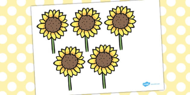 Five Little Sunflowers Counting Song Cut Outs - counting, song