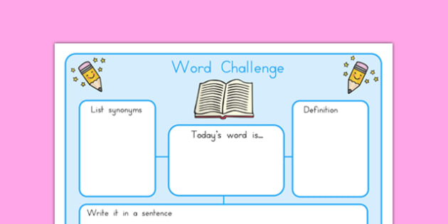 Word Challenge Worksheets - word challenge, challenge, literacy