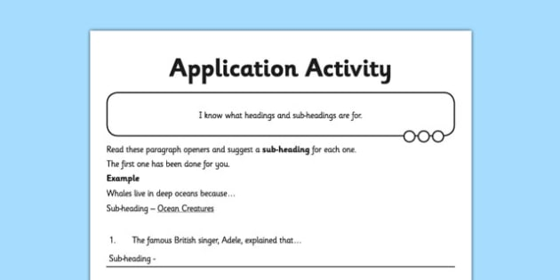 Headings and Sub Headings Application Activity Sheet - GPS, non chronological, report, non-fiction, title, worksheet
