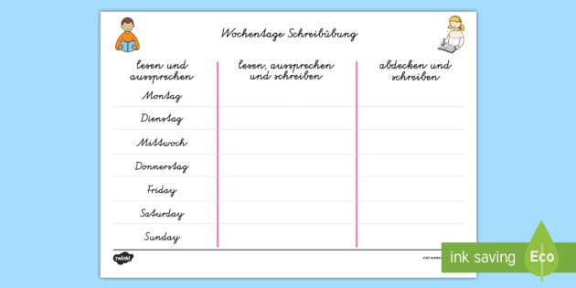 Die Tage der Woche Writing Practice German - german, days, week
