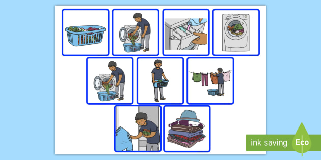 7 Step Sequencing Cards Washing Clothes - washing, clothes, cards