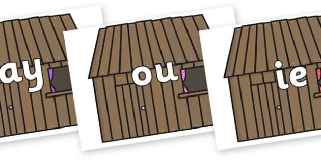 Phase 5 Phonemes on Wooden Houses - Phonemes, phoneme, Phase 5, Phase five, Foundation, Literacy, Letters and Sounds, DfES, display