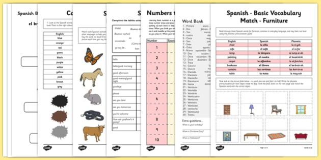 Learn Spanish Worksheet Starter Pack - learn, spanish, worksheet, starter pack