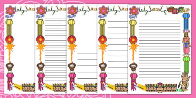 Diwali Page Borders - Page border, border, Diwali, religion, hindu, hanoman, rangoli, sita, ravana, pooja thali, rama, lakshmi, golden deer, diva lamp, sweets, new year, mendhi, fireworks, party, food, divali, divalli