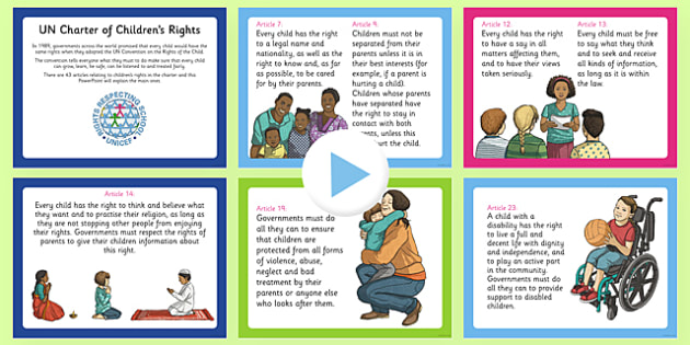 UN Charter Rights of the Child PowerPoint - CfE, Health and Wellbeing, PSHE, Rights Respecting Schools, UN Charter Rights of the Child, Children's Rights, Responsibilities