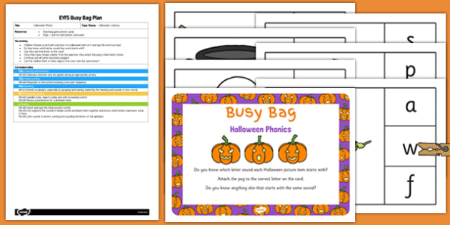 Halloween Phonics Busy Bag Plan and Resource Pack - halloween, phonics, busy bag