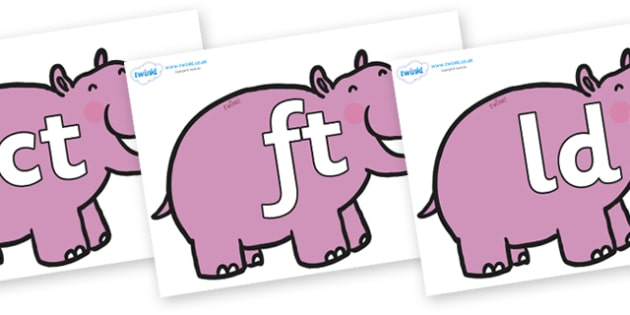 Final Letter Blends on Hippos - Final Letters, final letter, letter blend, letter blends, consonant, consonants, digraph, trigraph, literacy, alphabet, letters, foundation stage literacy